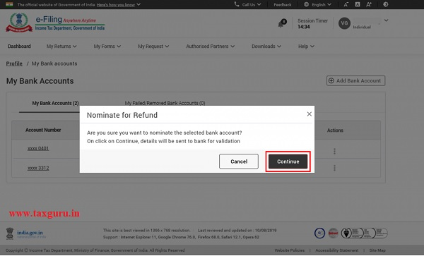 Step 2 Click Continue to confirm that you want to nominate the selected bank account