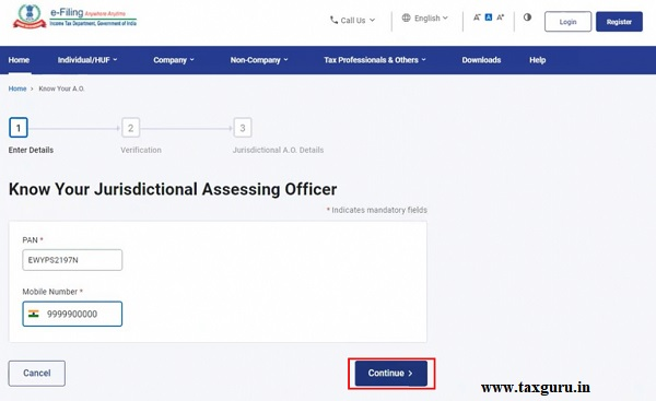 Step 2 On the Know Your Jurisdictional Assessing Officer page, enter your PAN and a valid mobile number and click Continue