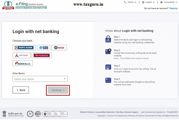Step 2 On the e-Filing login Through Net Banking page, select the Bank Name