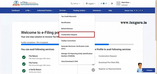 Step 2 On your Dashboard, click Services Condonation Request