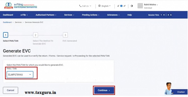 Step 3 On Generate EVC page, select PAN-TAN and click Continue