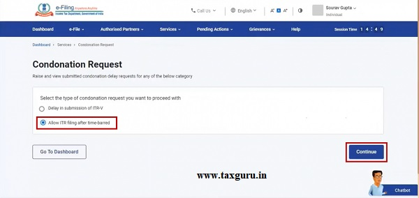 Step 3 On the Condonation Request page, select Allow ITR filing after time-barred option and click Continue