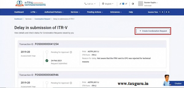 Step 4 On the Delay in submission of ITR-V page, click Create Condonation Request