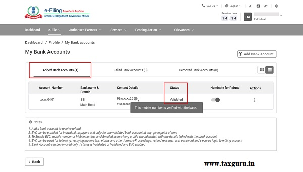 Then, your contact details are verified with the bank details