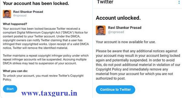 Twitter Blocks account of Ravi Shankar Prasad for one Hour