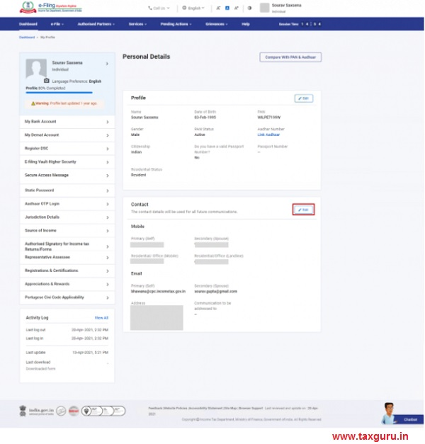 Updating Primary and Secondary Contact details