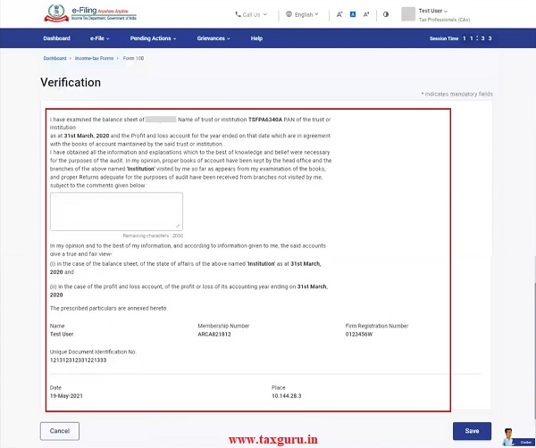 Verification page is where the CA provides assurance of all details provided in the form.