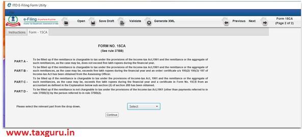 shall furnish form 15CA