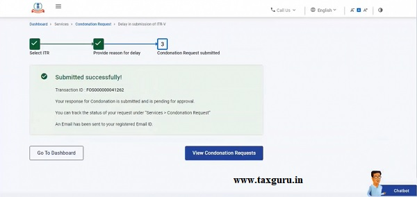 success message along with a Transaction ID is displayed