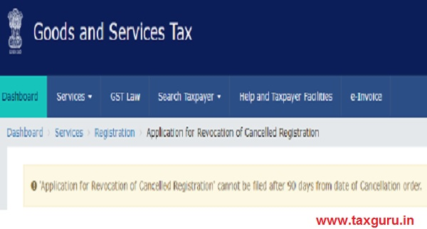 Application for revocation cancelled registration