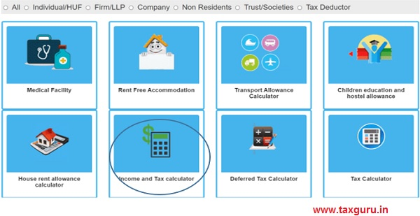 Click on Income and Tax Calculator