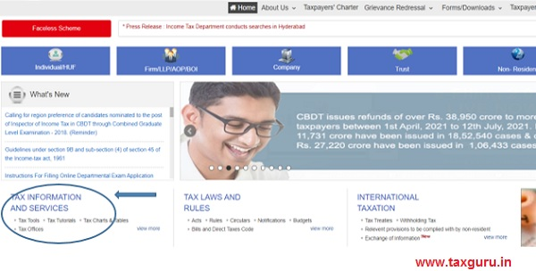 Click on Tax Tools under the heading Tax Information & Services