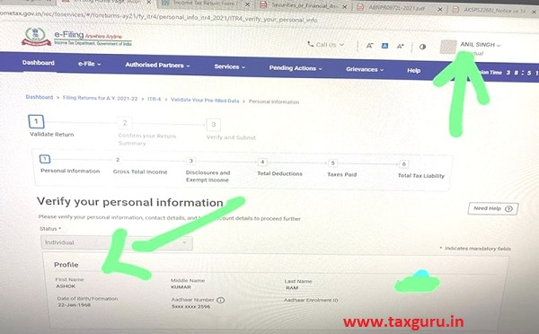 In once login details of other assessee seen