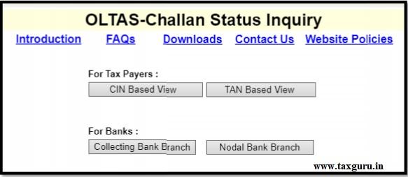 OLTAS-Challan status Inquiry
