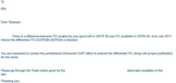 Sample Notice Blocking ITC availed