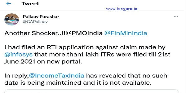 Shocking! Income Tax CPIO not maintains details of ITR Filed