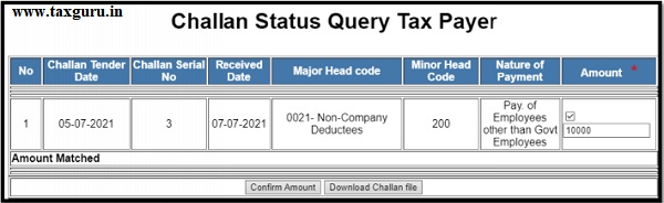 challan status query for tax payer 2