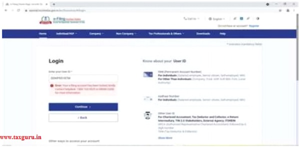 Accounts on e-filing portal are locked after in the second attempt itself