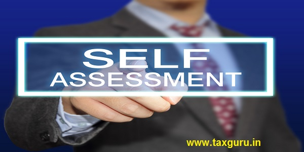 Business concept image of a businessman clicking Self Assessment button