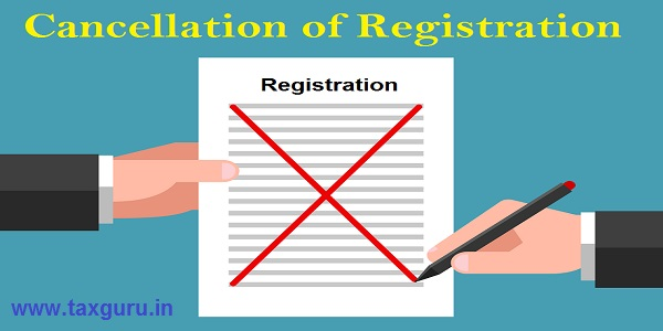 Cancellation of Registration - One hand is holding document, another hand is crossing out text content with red pen
