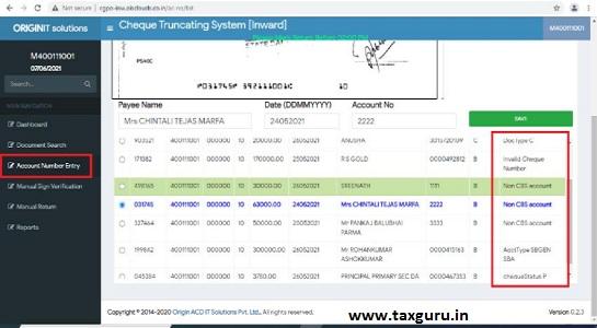 Cheque Passed