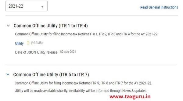 Common Offline Utility (ITR 1 to ITR 4)