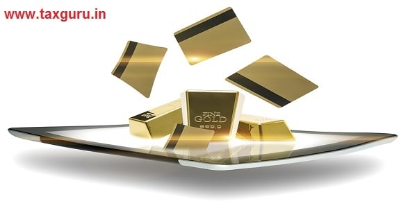 Conceptual image of a modern portable computer tablet with gold bullion