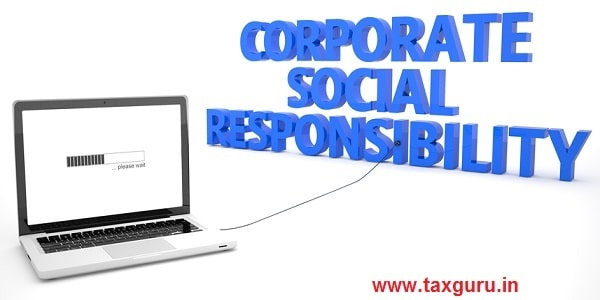 Corporate Social Responsibility - laptop notebook computer connected to a word on white background