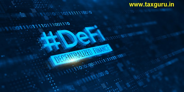 DeFi -Decentralized Finance on dark blue abstract polygonal background Concept of blockchain decentralized financial system 3d rendering