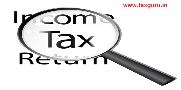 Examine tax returns, magnifying glass on Income Tax Return