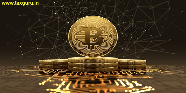 Golden bitcoins standing on circuit board, cryptocurrency concept