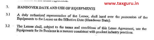 Handover date and of Equipments