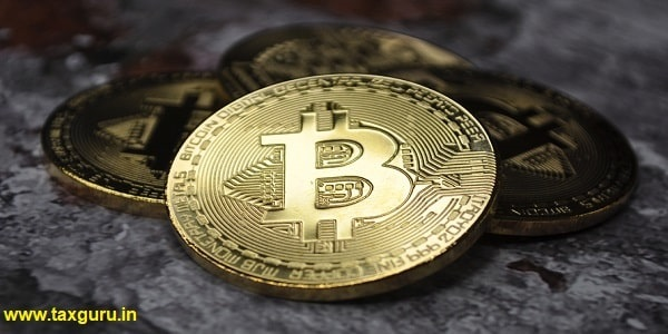 Macro view of gold and silver color shiny coins with Bitcoin symbol