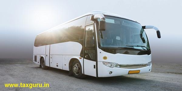 Modern White Passenger Bus on the Neutral Background
