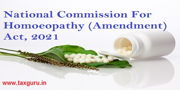 National Commission For Homoeopathy (Amendment) Act, 2021