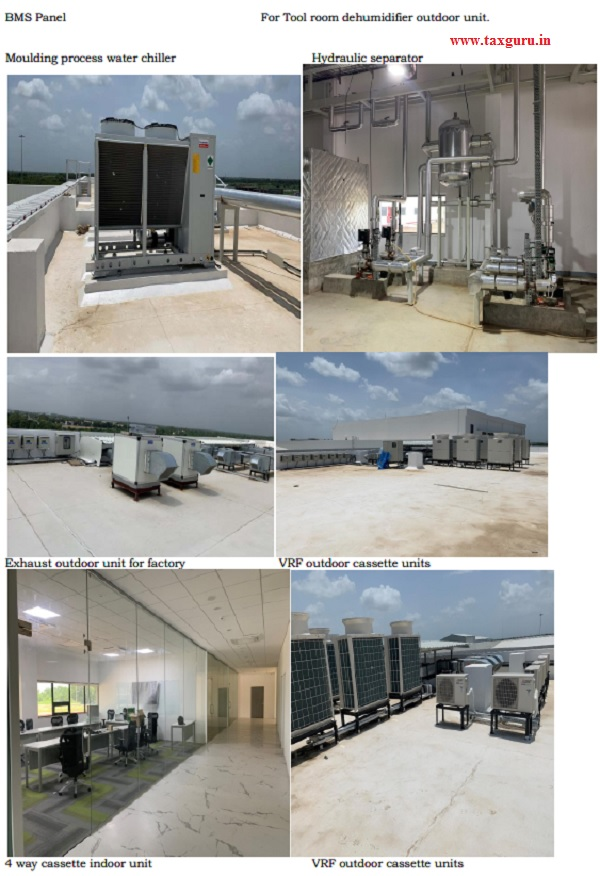 Photographs submitted pertaining to Air conditioning and cooling system