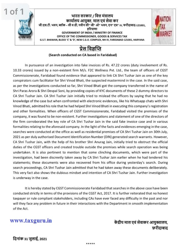 Press release on Search conducted on CA based In Faridabad