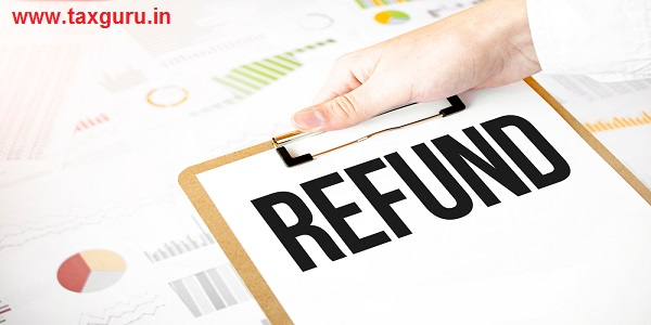 Text refund on white paper plate in businessman hands with financial diagram
