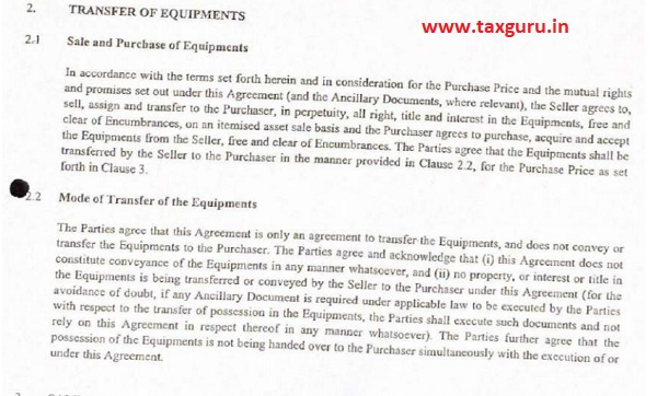 Transfer of Equipments