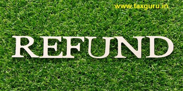 Wood alphabet in word refund on artificial green grass background
