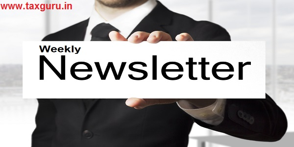 businessman in black suit holding white sign Weekly newsletter