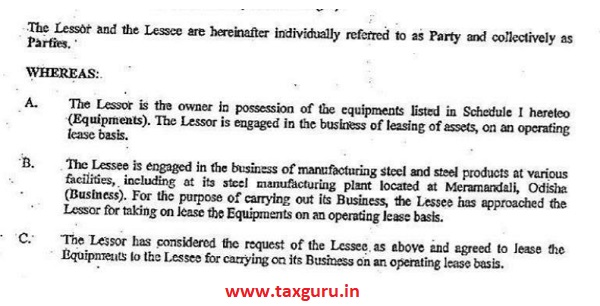 relevant extracts of the lease agreement are reproduced