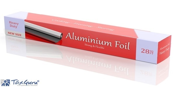 3D Aluminium Foil paper box isolated on white