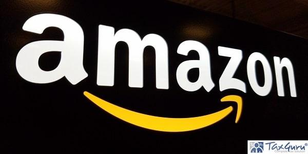 Amazon logo on black shiny wall in Honolulu Best Buy store