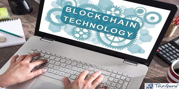 Blockchain technology concept shown on a laptop screen