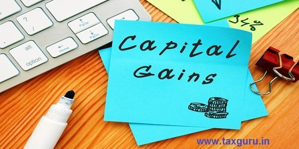 Business concept about Capital Gains with sign on the page