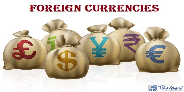 Foreign Currencies - Illustrations of lots of money sacks with currency symbols on them