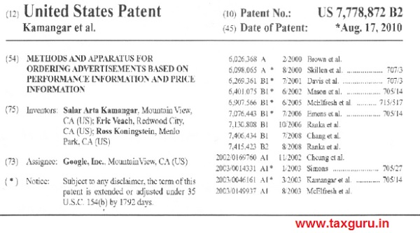Further, the patent number US7778872B2 is examined