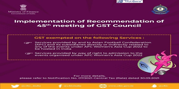 GST exemption with reference to services provided by and to Asian Football Confederation for events under AFC Women's Asia Cup 2022 to be held in India