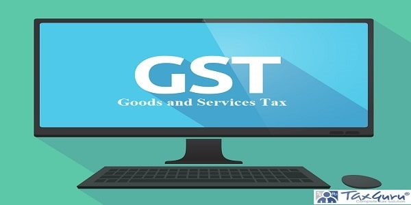 Illustration of a long shadow personal computer with the Goods and Service Tax acronym GST